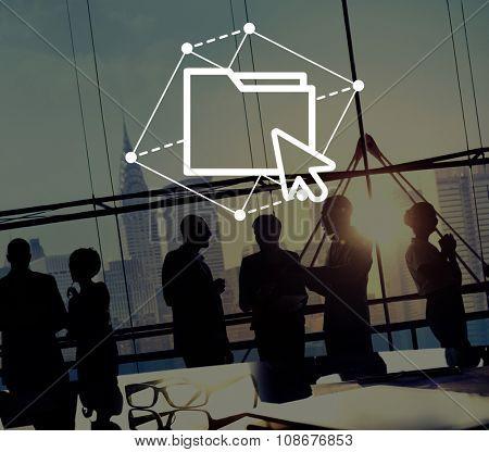 Folder Sharing Cursor Click Computer Network Concept