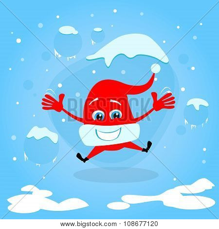 Red Santa Hat Happy Excited Jump Up Laughing Christmas