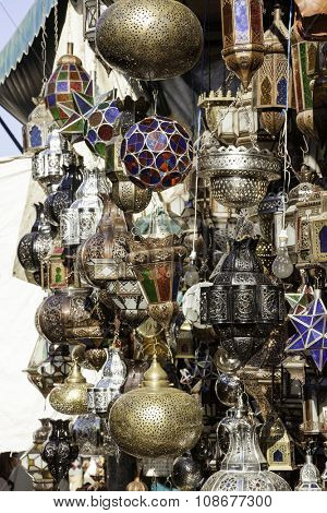 Traditionally crafted ornate moroccan lampshades at Marrakesh market stand