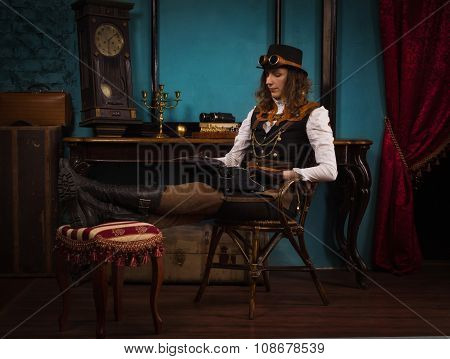 Steam Punk Girl And Old Typewriter