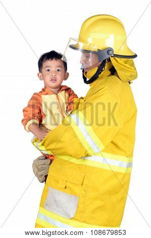 Firefighters Helping People And Animals. On White Background.