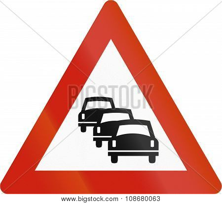 Norwegian Road Warning Sign - Queues Likely
