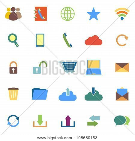 Communication Color Icons On White Background