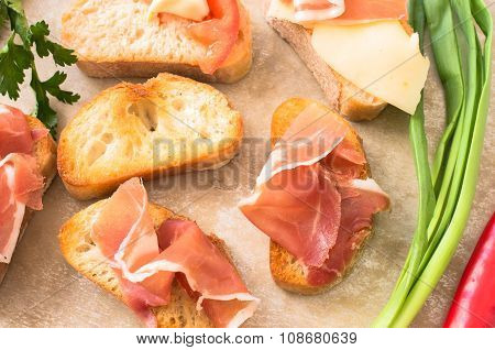 Spanish Tapas With Jamon, Cheese, Tomato And Garlic