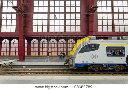Antwerp, Belgium - May 11, 2015: People In Antwerp Central Station