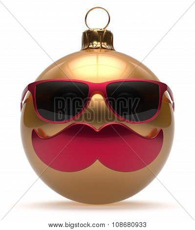 Christmas Ball Emoticon Smiley Mustache Face New Year's Eve
