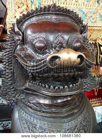 ancient Leo statue in Buddhist temple