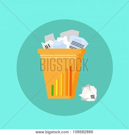 Trash Recycle Bin Garbage Flat Vector