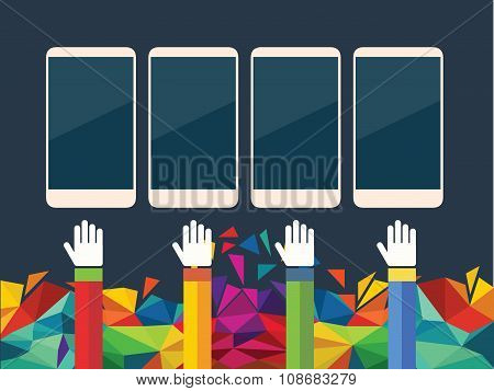 vector illustration of Mobile phone in hand icon