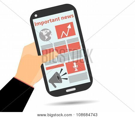 Online Newspaper. Smartphone In Hand. Important News. Tablet Pc.