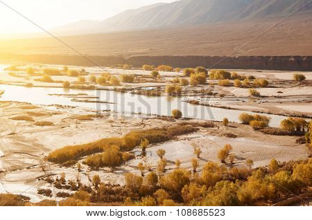 Indus River in sunrise view during falls season, Leh, Ladakh, Jammu and Kashmir, India