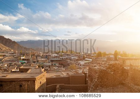 Sunset view of Leh city in falls, the town is located in the Indian Himalayas at an altitude of 3500 meters, North India