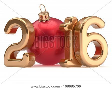 Happy New Year 2016 Christmas Ball Merry Xmas Bauble Gold