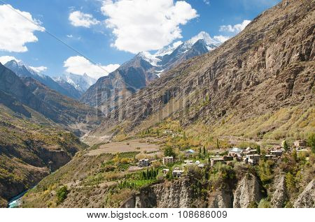 Himalayan village landscape in Himalayas along Manali-Leh highway. Himachal Pradesh, India.