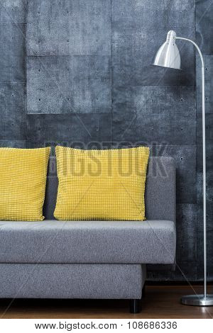 Simple Sofa With Yellow Pillows