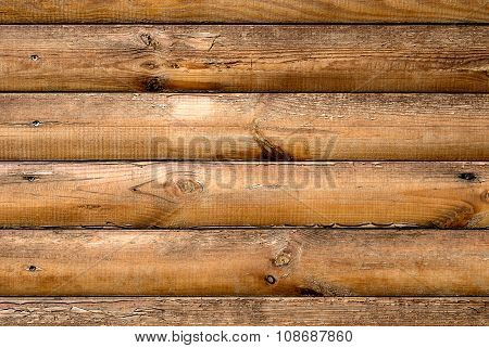 Log House Ash Wood With Hammered A Nails Texture