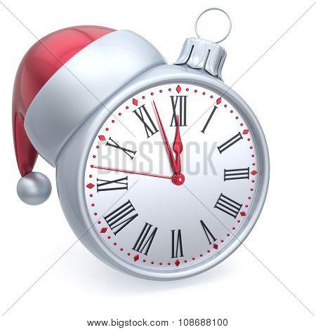 Christmas Ball Alarm Clock New Year's Eve Time Santa Hat White
