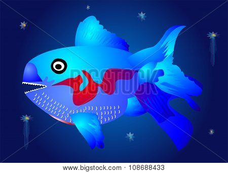 The blue fish in the depths,
