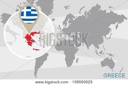 World Map With Magnified Greece
