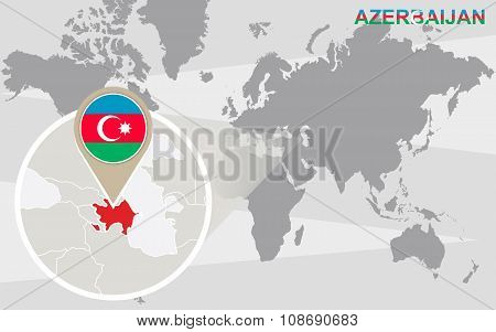World Map With Magnified Azerbaijan