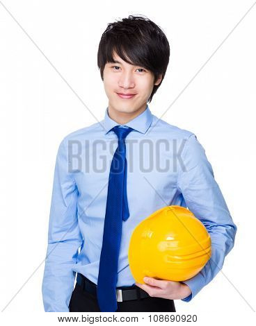 Young engineer hold wit safety hardhat