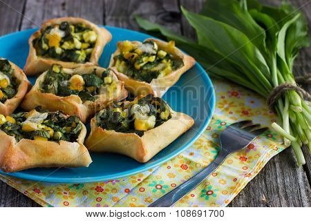 Patties With Ramson, Eggs And Cheese