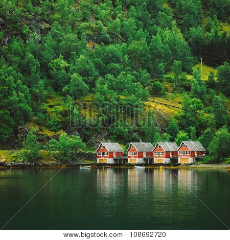 Sognefjord port in Flam, Norway. Red wooden Docks in small touri