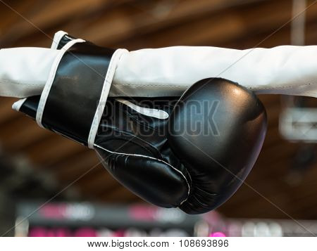 Black Boxing Glove Linked To Ring Ropes