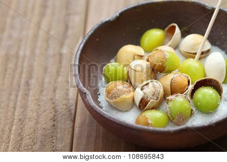 salt roasted ginkgo nuts, japanese food