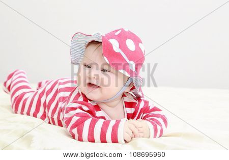 cute baby girl in red hat