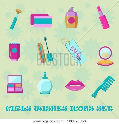 Girls wishes icon set. Flat style shopping cosmetic icons