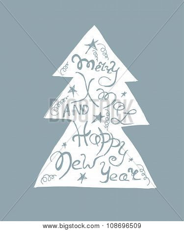 Christmas tree with handdrawn lettering inside. Vector illustration. New Year decoration