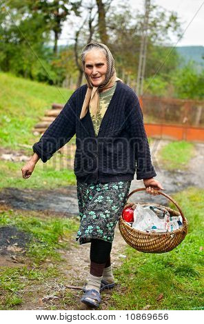 Rural Woman With Basket Outdoor
