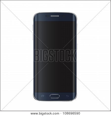 New version of modern smartphone with blank black screen.  Vector eps 10