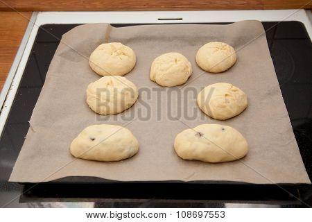 Sweet Rolls Raw On Baking Tray