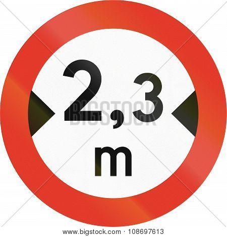 Norwegian Regulatory Road Sign - No Vehicles Over 2.3 Meters In Width