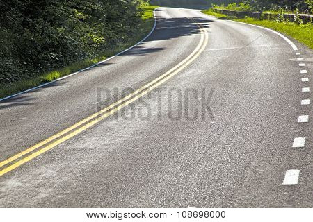 Beautiful Scenic Country Road Curves Through Shenandoah  National Park.