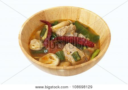 Pork ribs spicy soup with herbs, Thai food