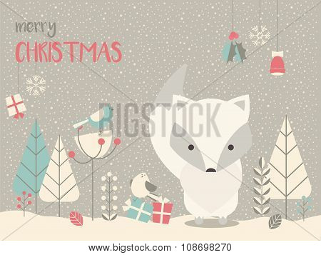 Cute Arctic Christmas Baby Fox Surounded With Floral Decoration