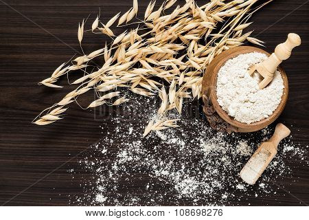 The Stalks Of Oats And Oat Flour