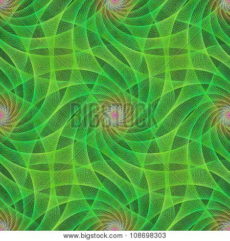 Green seamless fractal swirling veil pattern