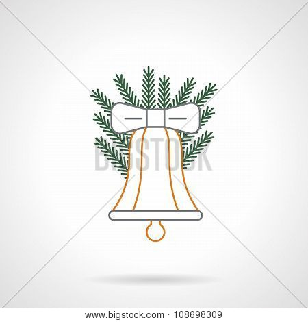 Color flat line Xmas bell vector icon