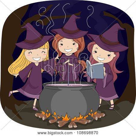 Illustration of Three Little Witches Making a Potion