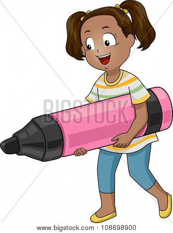 Illustration of a Little Girl Carrying a Giant Marker