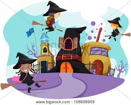 Whimsical Illustration of Stickman Kids Dressed as Witches Going to Wizardry School