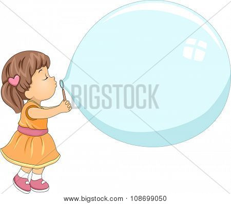 Illustration of a Cute Little Girl Blowing a Giant Bubble