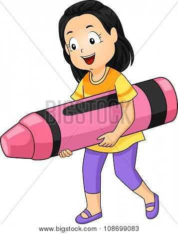 Illustration of a Little Girl Carrying a Giant Pink Crayon