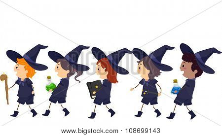 Stickman Illustration of Kids Dressed as Witches Walking in a Line