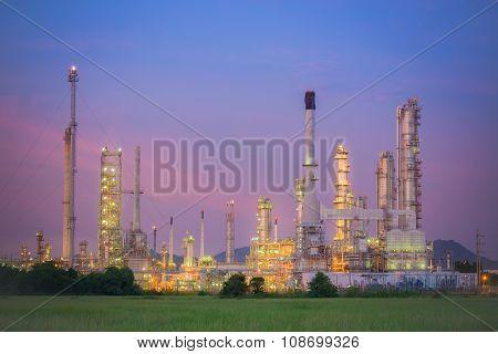 Twilight Of Refinery Plant.