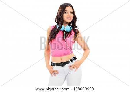 Stylish young girl with headphones isolated on white background